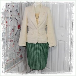 Straight Skirt💚Fully Lined Green & Cream Weaved